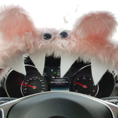 Baby Pink fuzzy monster steering wheel cover close up