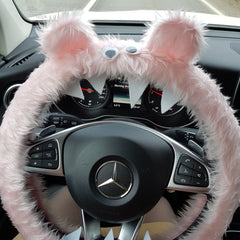 Baby pink monster steering wheel cover