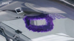 Purple fluffy rear view mirror cover on Ali-A's superchargers