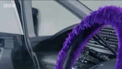 Purple fluffy steering wheel cover Ali-A's supercharger