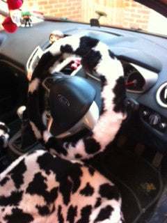 Cow print fluffy steering wheel cover