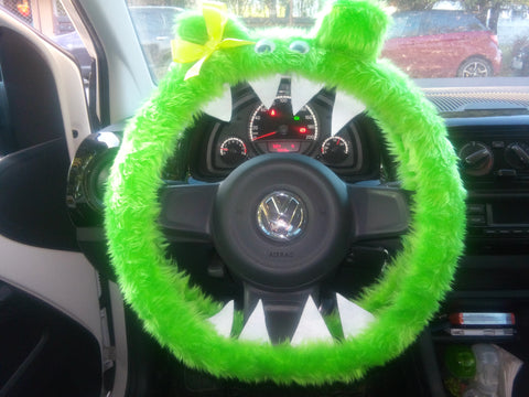 Lime Green fuzzy monster steering wheel cover