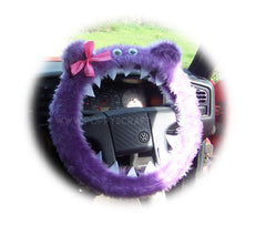 Lilac monster fuzzy faux fur steering wheel cover with pink bow and googly eyes