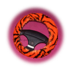 Orange tiger fuzzy steering wheel cover