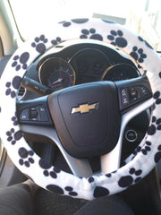 paw print customer steering wheel cover