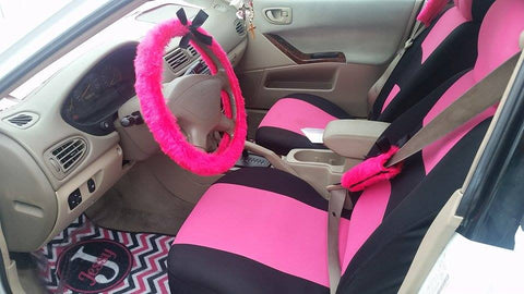 Fluffy pink steering wheel cover