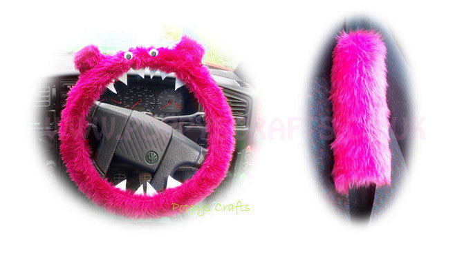 Fluffy Pink Monster Car Steering wheel cover & fuzzy faux fur pink seatbelt pad set - Poppys Crafts  - 1