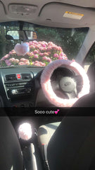 Baby Pink Fuzzy Faux Fur Gear Knob Stick Shift Cover