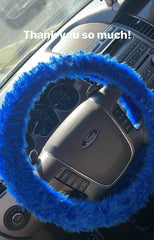 Royal Blue fuzzy faux fur steering wheel cover - Poppys Crafts