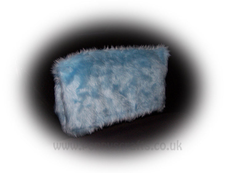 Baby Blue fluffy faux fur car headrest covers 1 pair - Poppys Crafts