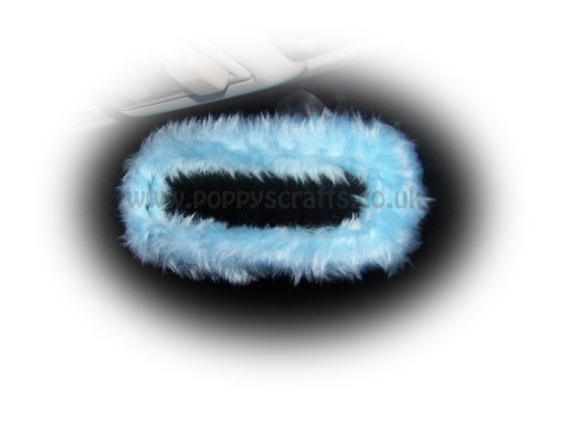 Pretty Faux Fur Baby Blue Rear View Interior Car Mirror Cover