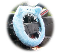 Baby Blue Fuzzy monster car steering wheel cover - Poppys Crafts