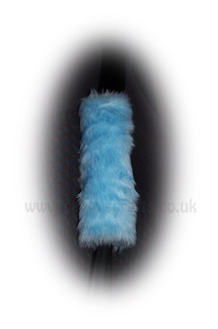 1 pair of Fuzzy Baby blue fluffy car seatbelt pads faux fur