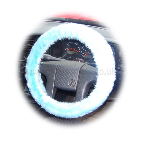 Baby Blue fluffy fuzzy faux fur car steering wheel cover