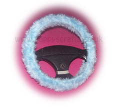 Baby Blue fuzzy car steering wheel cover - Poppys Crafts
