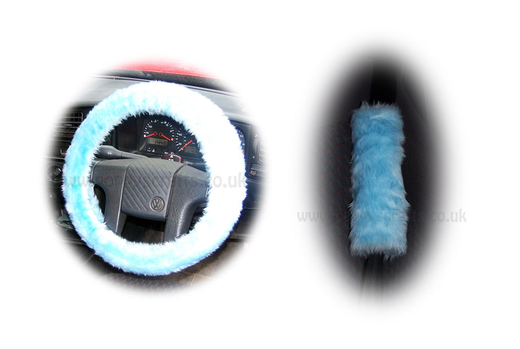 Baby Blue Fuzzy Car Steering wheel cover & matching faux fur seat belt pad set
