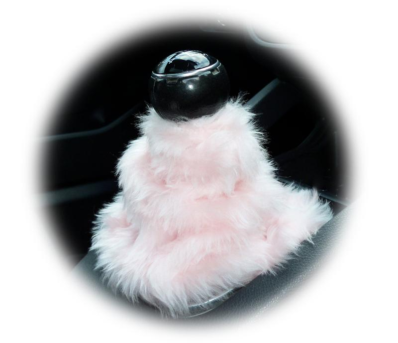 Cute Baby pink fluffy fuzzy gear stick gaiter cover - Poppys Crafts