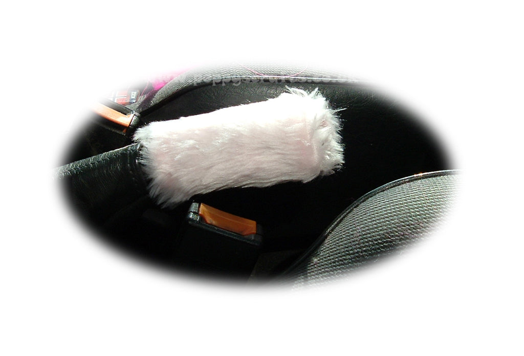 Fuzzy faux fur Baby Pink Handbrake cover cute - Poppys Crafts