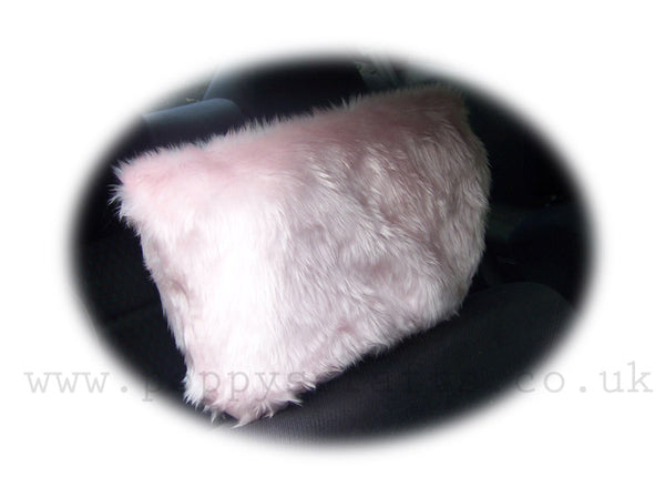 Pretty Fluffy Baby Pink Faux Fur Car Seat Headrest Covers