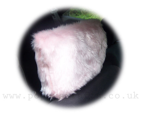 Fluffy Baby Pink faux fur car headrest covers 1 pair