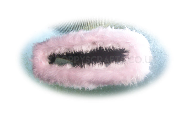 Baby pink cute faux fur rear view interior car mirror cover - Poppys Crafts