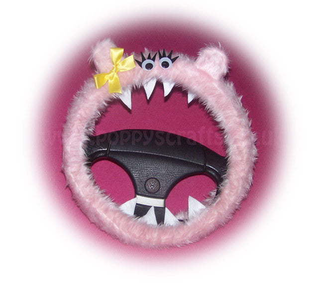 Fuzzy Baby pink faux fur Monster car steering wheel cover 'Petunia' fluffy furry fun - Poppys Crafts
