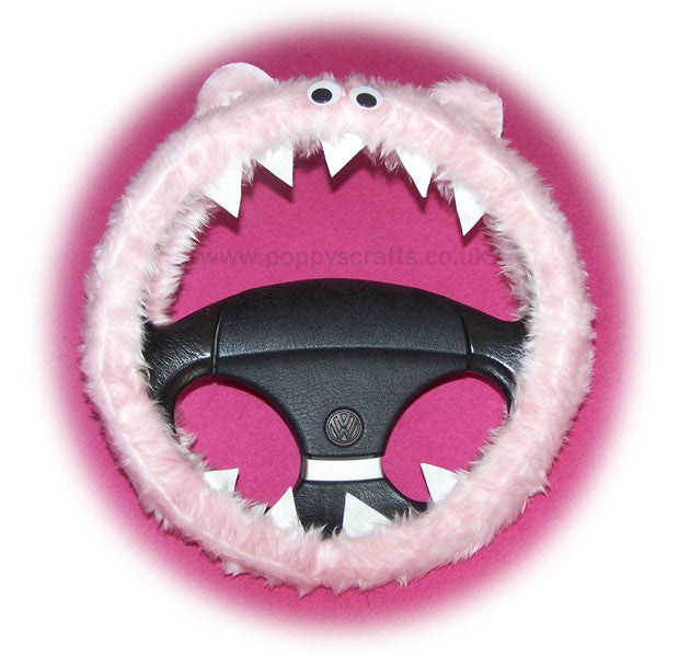 Cute Fuzzy Baby pink faux fur Monster car steering wheel cover with pink bow fluffy furry fun - Poppys Crafts