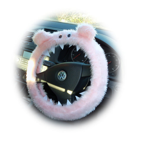 Baby pink faux fur fuzzy Monster car steering wheel cover