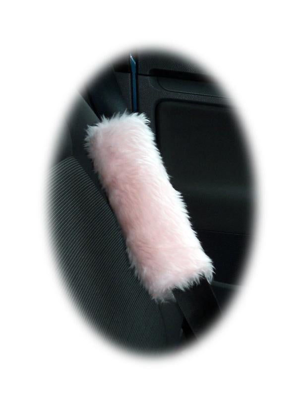 1 pair of cute fuzzy baby pink faux fur car seatbelt pads furry and fluffy - Poppys Crafts