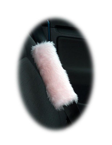 1 pair of cute fuzzy baby pink faux fur car seatbelt pads furry and fluffy