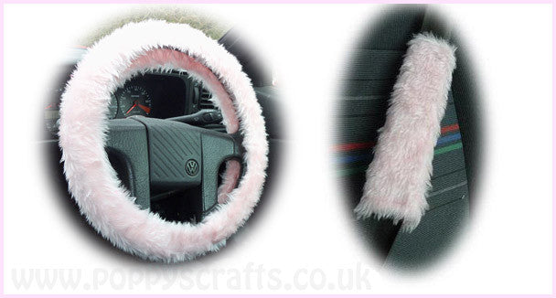 Pretty Baby pink fluffy Steering wheel cover and matching fuzzy seatbelt pads faux fur Girly girl Cute car accessories - Poppys Crafts  - 1