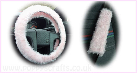 Fluffy Baby Pink Car Steering wheel cover & matching fuzzy faux fur seatbelt pad set girly girl car accessories