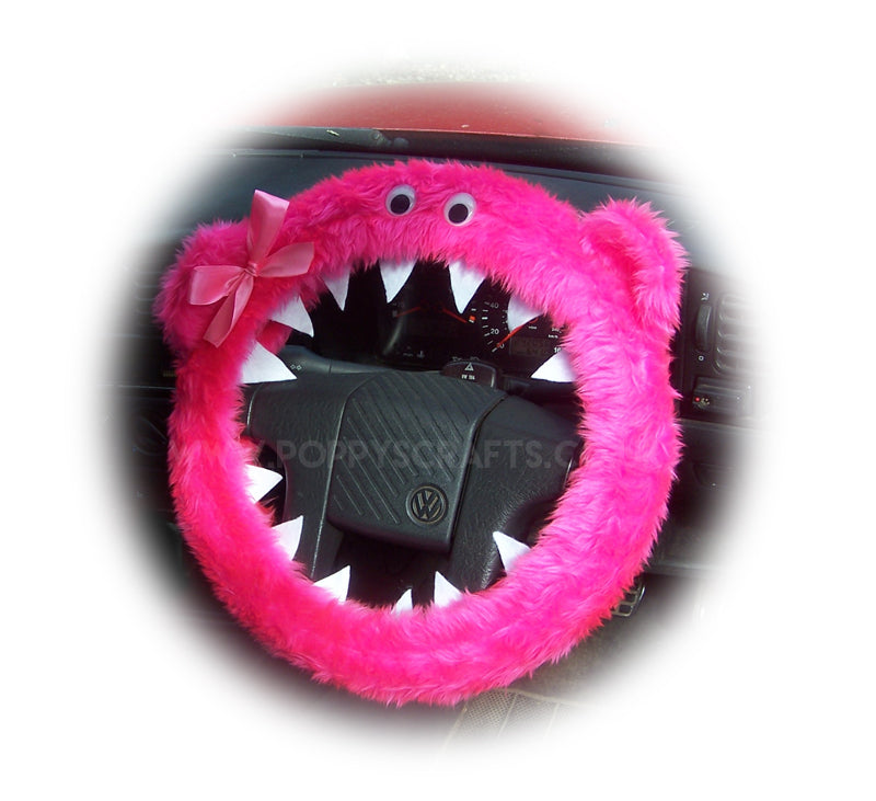 Barbie Pink fuzzy Monster car steering wheel cover with Pink Bow - Poppys Crafts