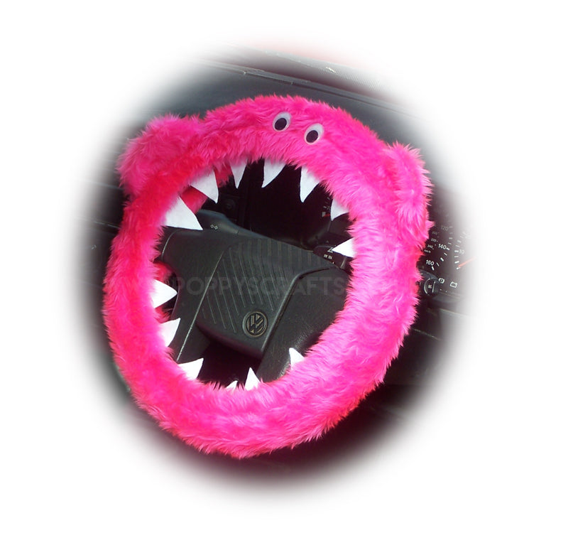Barbie Pink fuzzy Monster car steering wheel cover - Poppys Crafts