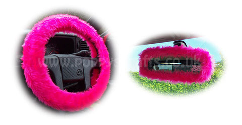Barbie Pink fuzzy steering wheel cover with cute matching rearview mirror cover