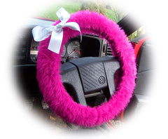 Cute Barbie Pink fluffy faux fur car steering wheel cover with white satin Bow - Poppys Crafts
