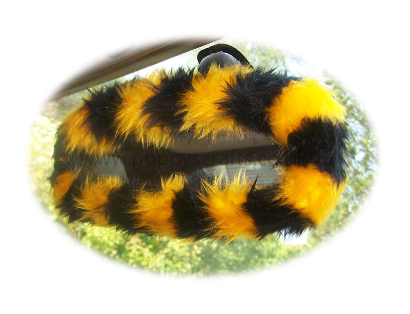 Bumble Bee stripey faux fur rear view interior mirror cover - Poppys Crafts