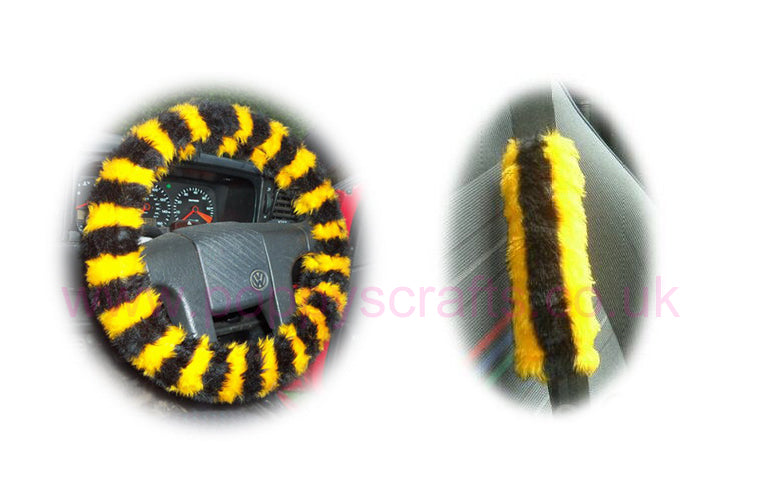 Busy Bumble Bee Striped Fuzzy Car Steering Wheel Cover & Matching Faux Fur Seatbelt Pad Set