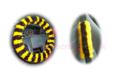 Busy Bumble Bee Striped fuzzy Car Steering wheel cover & matching faux fur seatbelt pad set - Poppys Crafts