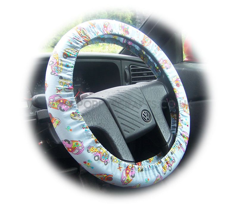 Beetle bug multi-coloured cotton car steering wheel cover - Poppys Crafts