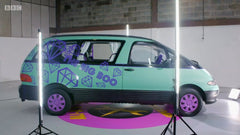 mint green Van car called Big Boo with purple wheels and purple decals on BBCs Ali-A's Superchargers