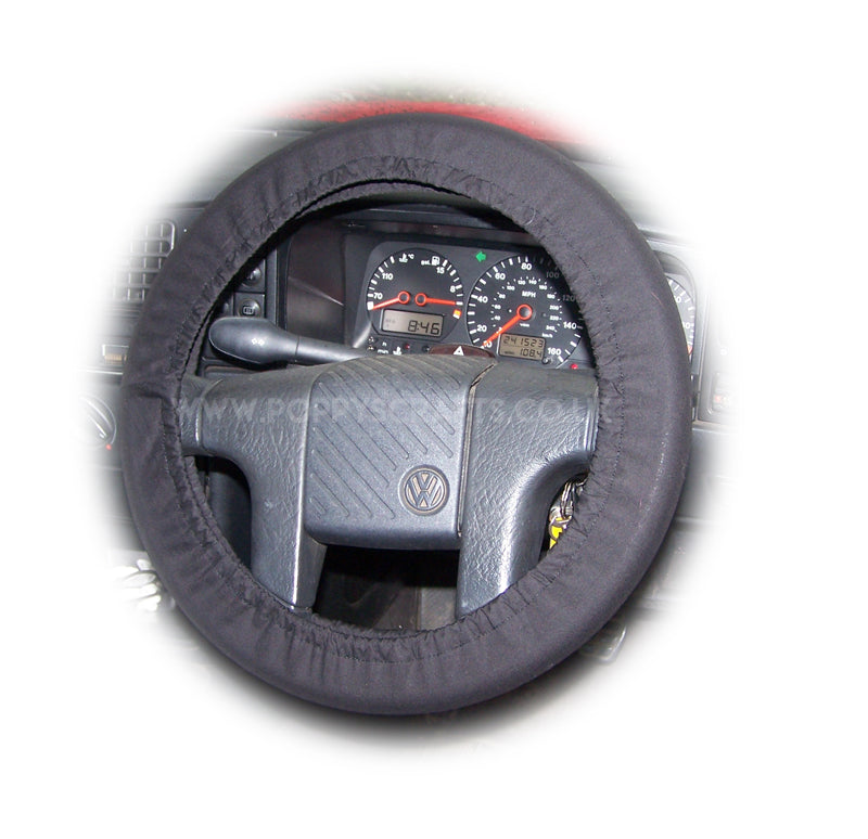 Black Cotton car steering wheel cover - Poppys Crafts