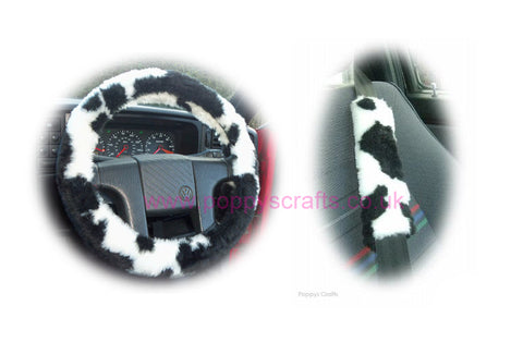 Black and White Cow print fuzzy Car Steering wheel cover & matching faux fur seatbelt pad set