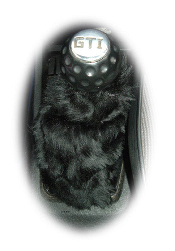Black fuzzy faux fur gear stick gaiter cover - Poppys Crafts