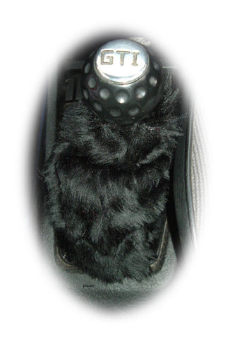 Black fuzzy faux fur gear stick gaiter cover