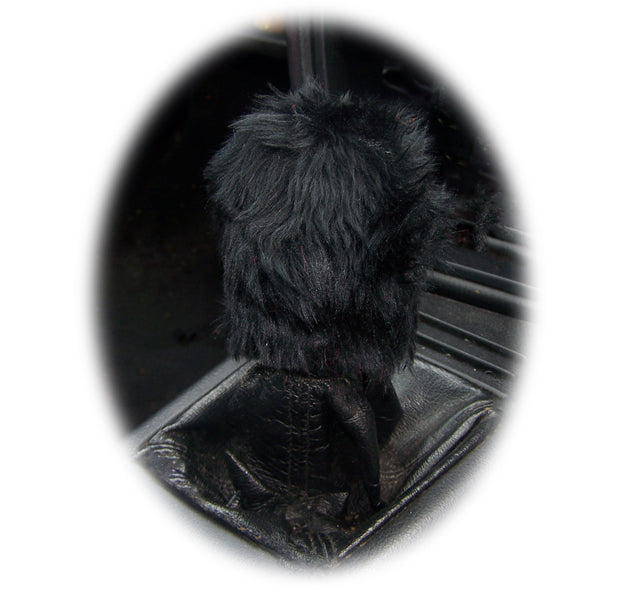 Fuzzy faux fur Black Gear knob cover cute