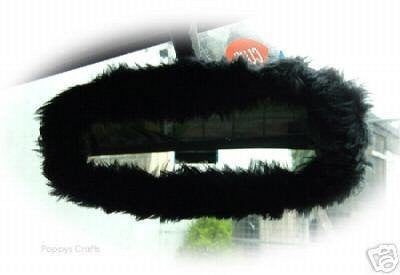 Black faux fur rear view interior car mirror cover - Poppys Crafts