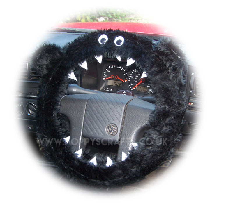 Black faux fur fuzzy Monster car steering wheel cover with googly eyes and teeth