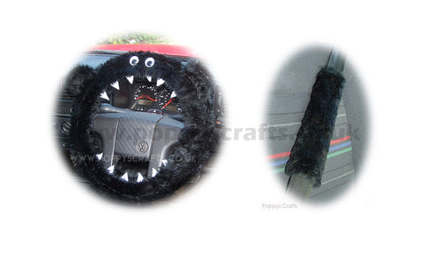 Fluffy Black Monster Car Steering wheel cover & fuzzy black seatbelt pad set