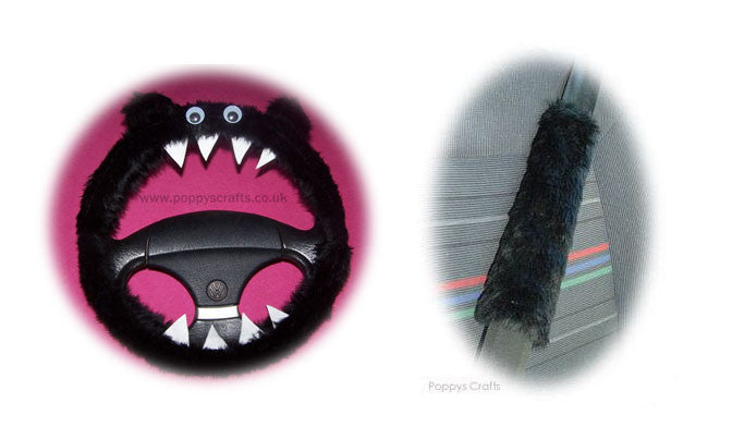Fluffy Black Monster Car Steering wheel cover & fuzzy black seatbelt pad set - Poppys Crafts  - 1
